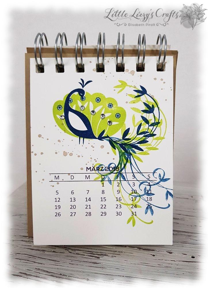 Kalender März Pfauengruß Stampin' Up!