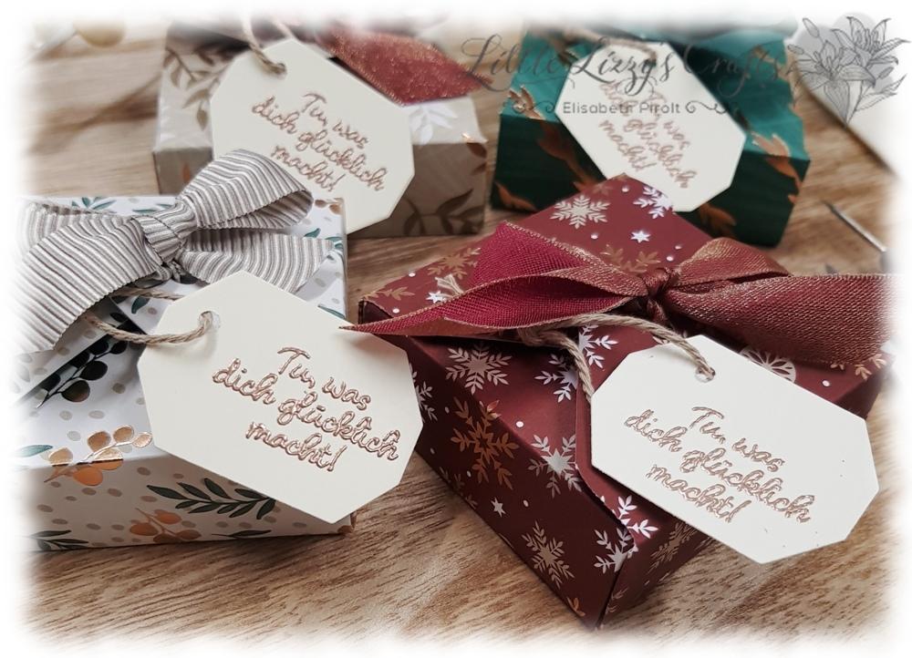 Adventmarkt Idee Teelichter Verpackung Box kein Kleber Falzbrett für Umschläge Stampin' Up!