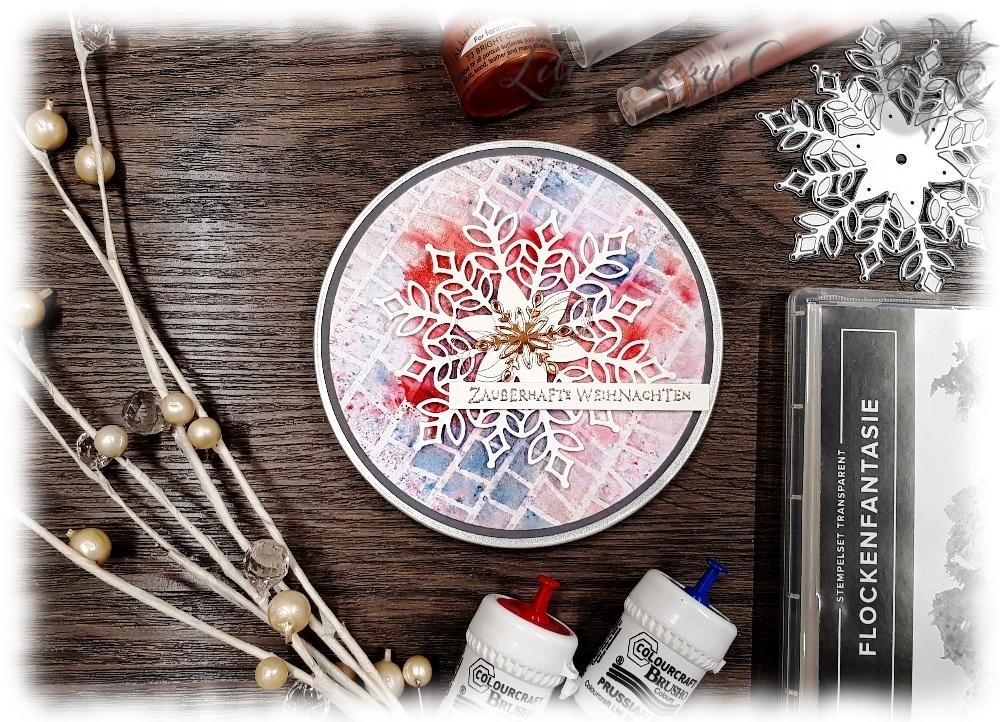 Snowfall Thinlits XMas Gift Card Box Stampin' Up! Watercolour Brusho