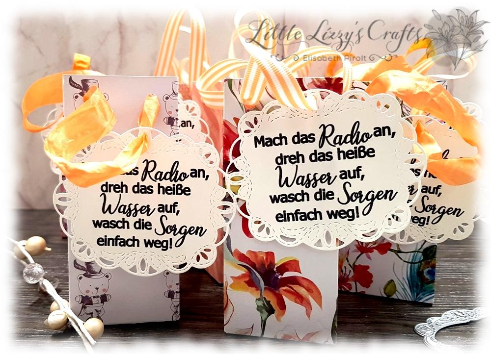 Bestickte Etiketten Falzbrett für Geschenktüten Stampin' Up!