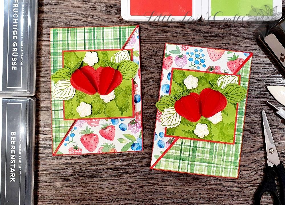 Dreieckskarte mit Sommerbeeren beim 3D Paper Trimmer Blog Hop