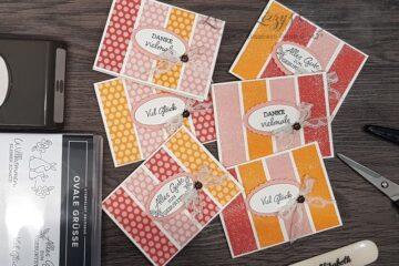 einfache Karten mit Designerpapier und Ovale Grüße