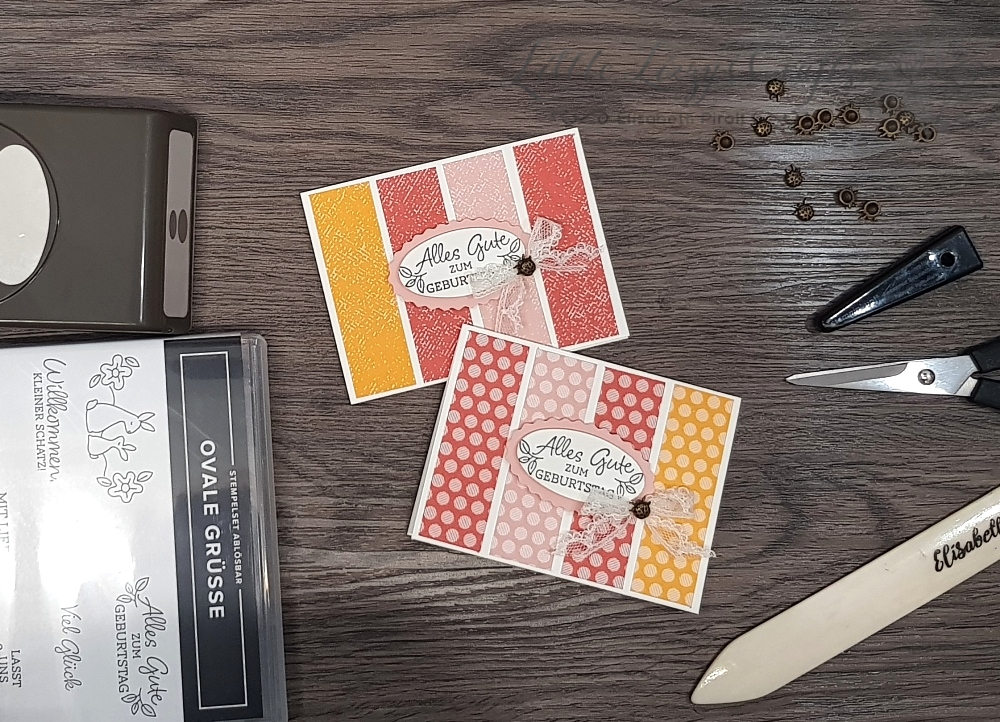 schnelle Kärtchen mit Designerpapier und Handstanzen Stampin' Up!