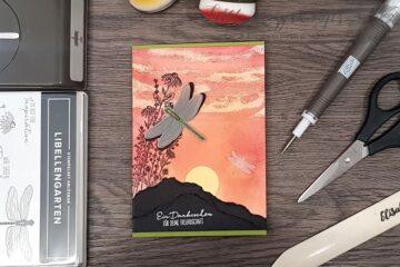 Sonnenuntergang mit Libellengarten und Blendingpinsel Stampin' Up!